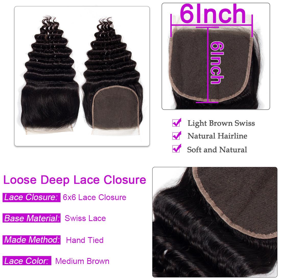 Loose Deep wave 6x6 Lace Closure