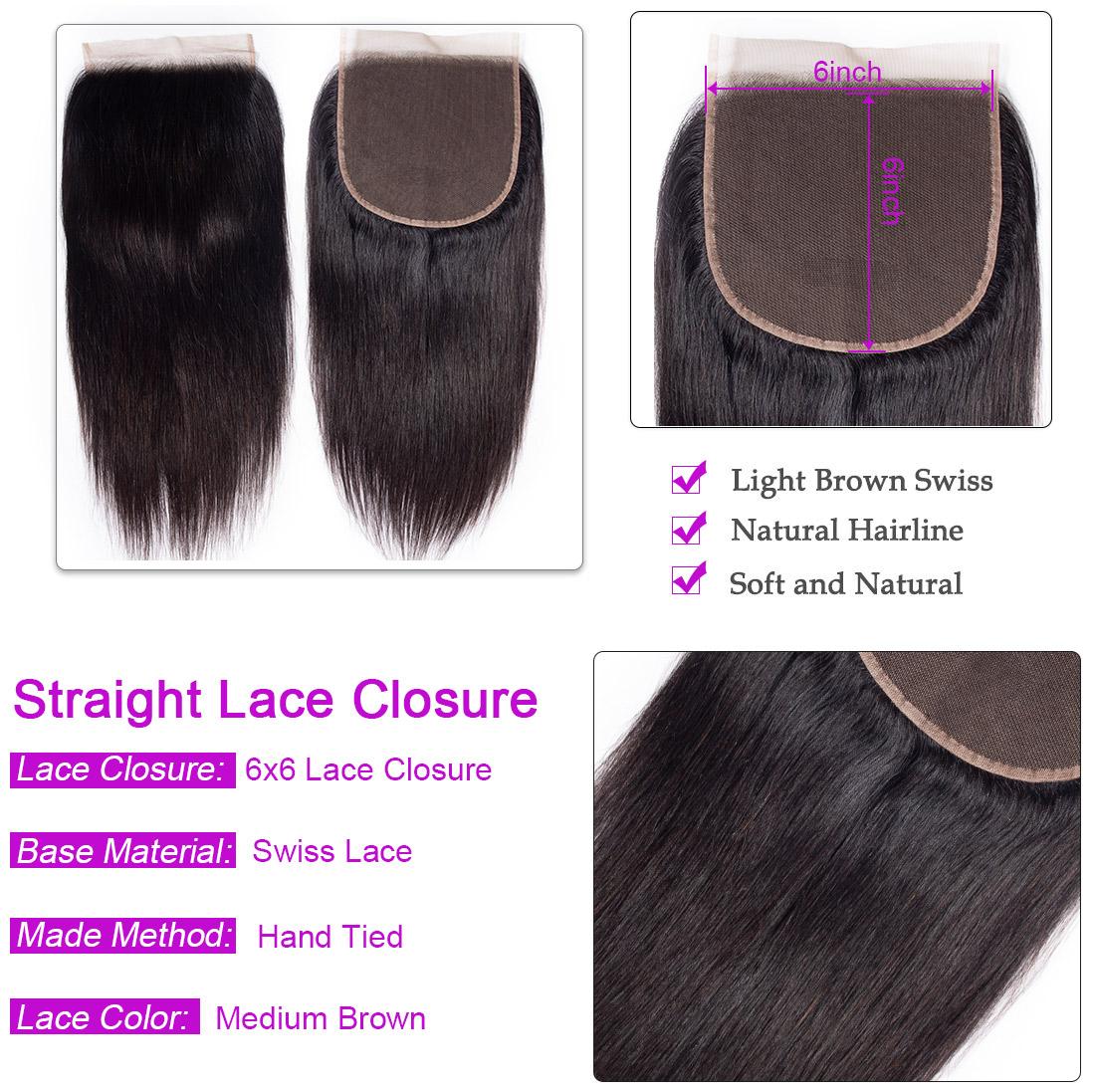 Straight 6x6 Lace Closure