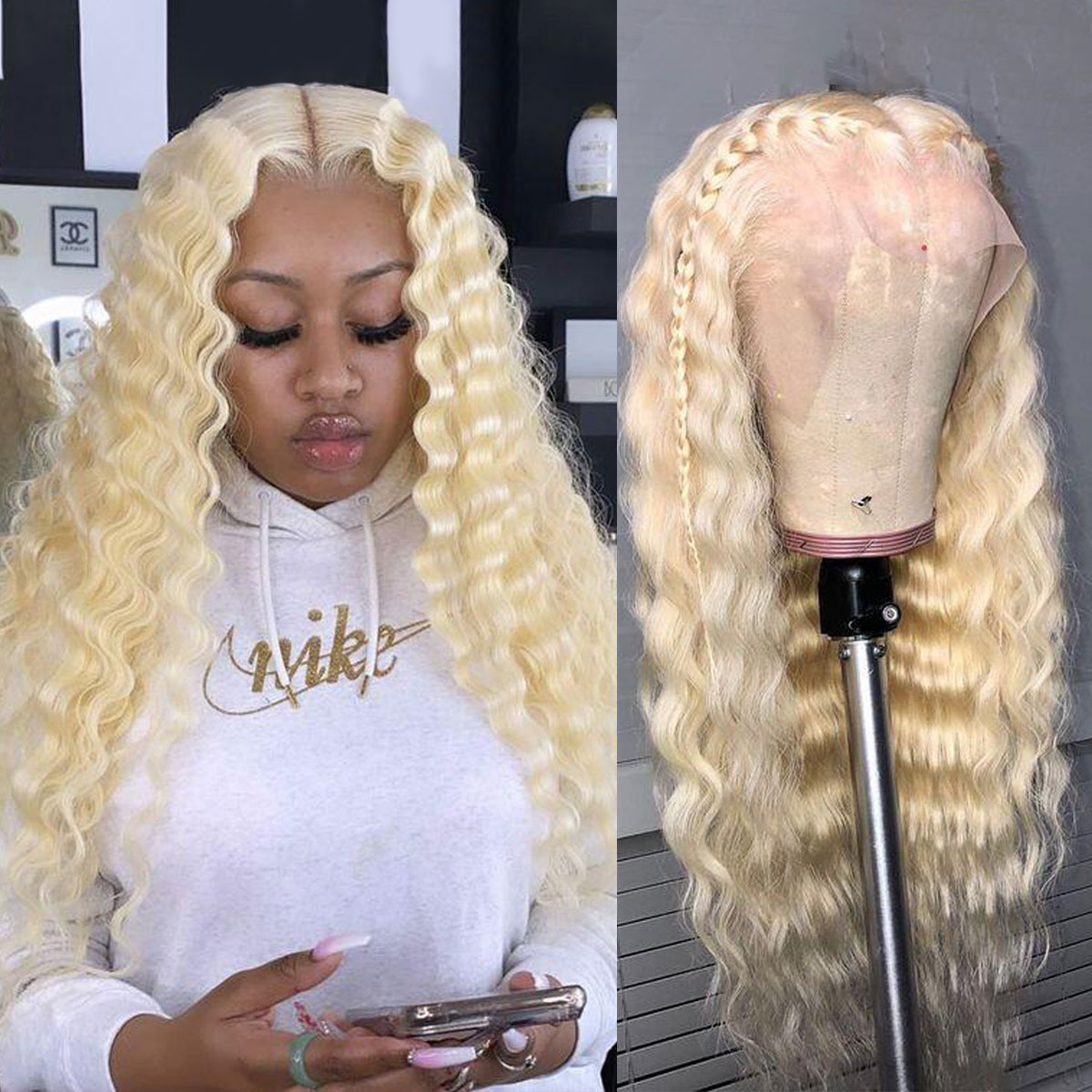 180% Density 613 Deep Wave Lace Wig