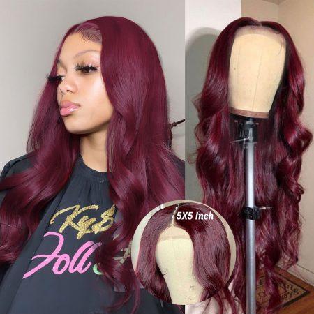 99J Body Wave 5x5 Lace Closure Wigs