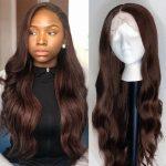 Dark bronw body wave wig