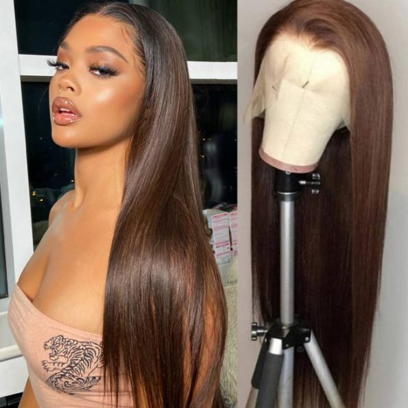 dark brown lace front wig