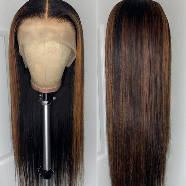 highlight straight lace front wig