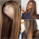Honey blonde straight lace front wig