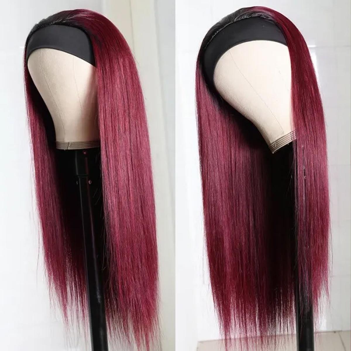 Straight Hair Headband Wig 99J Color