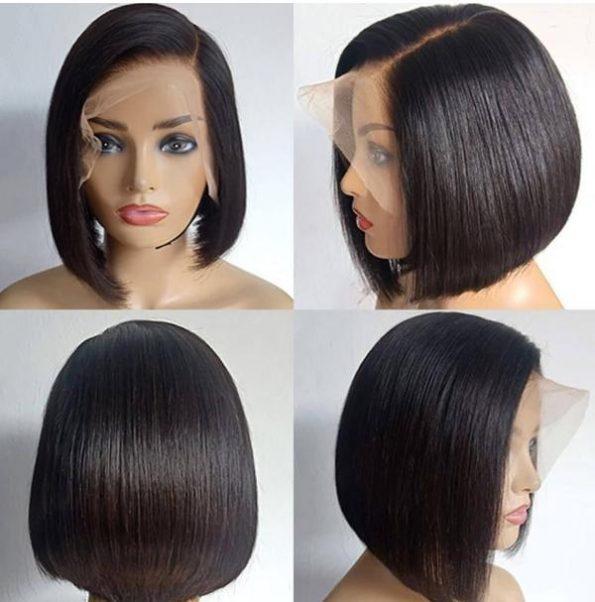 straight bob human hair wig