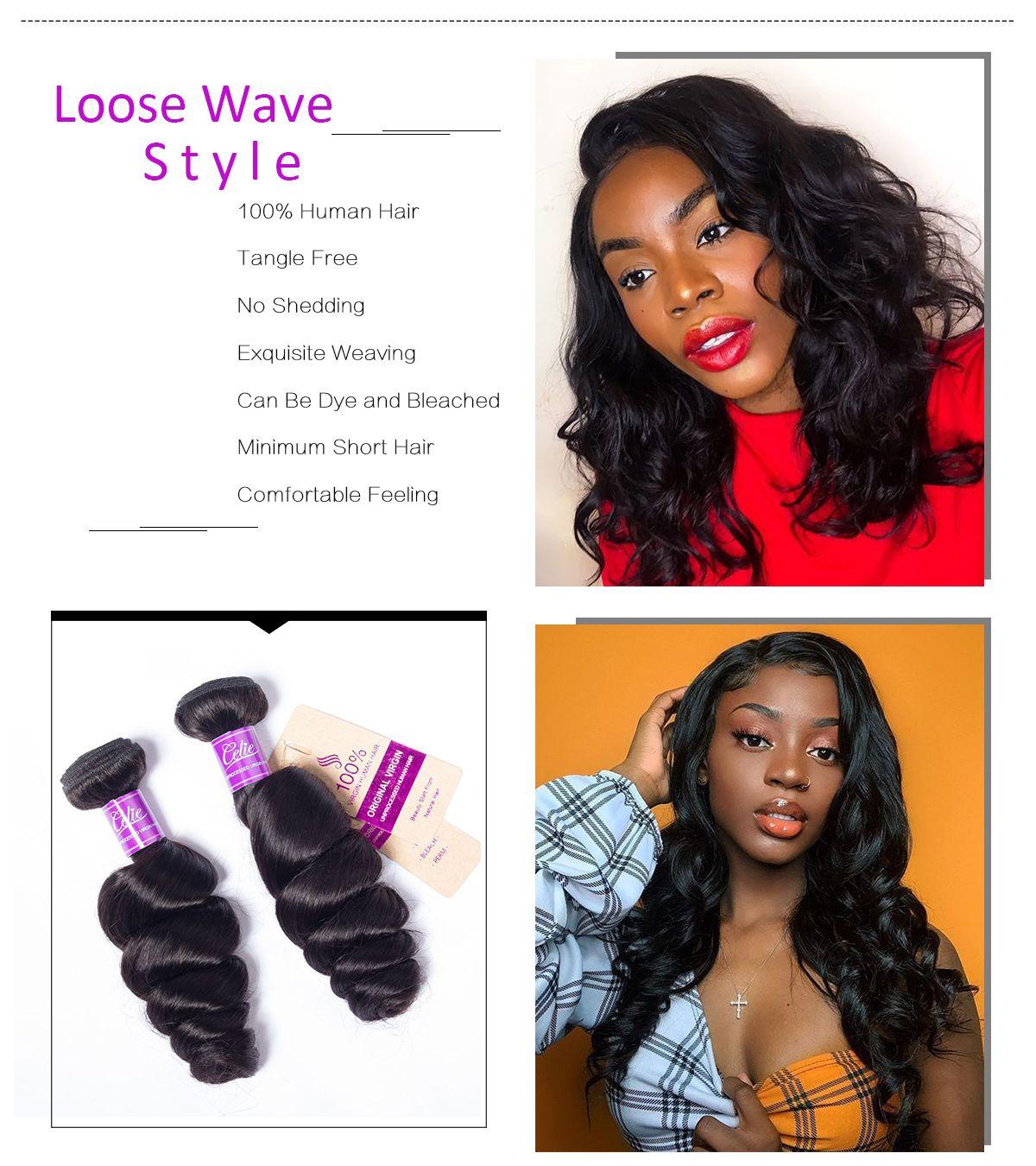 Loose Wave 3 Bundles With Transparent Closure