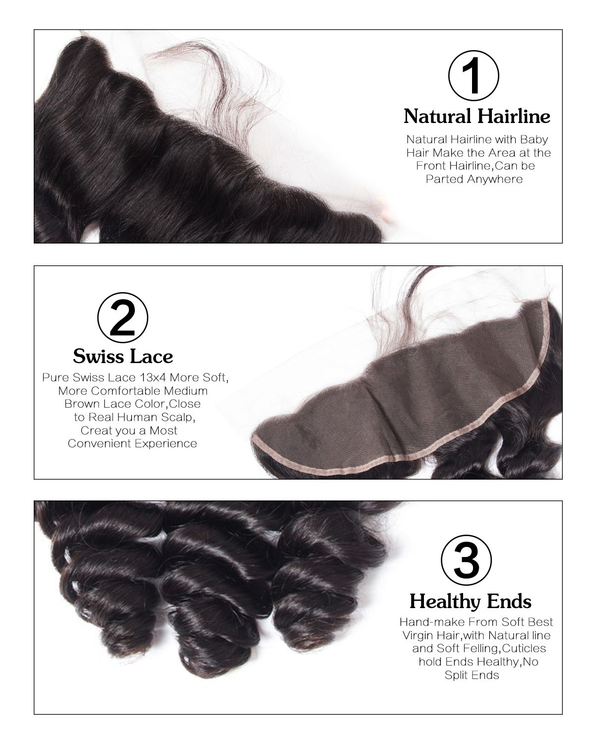 Loose Wave 3 Bundles With Frontal