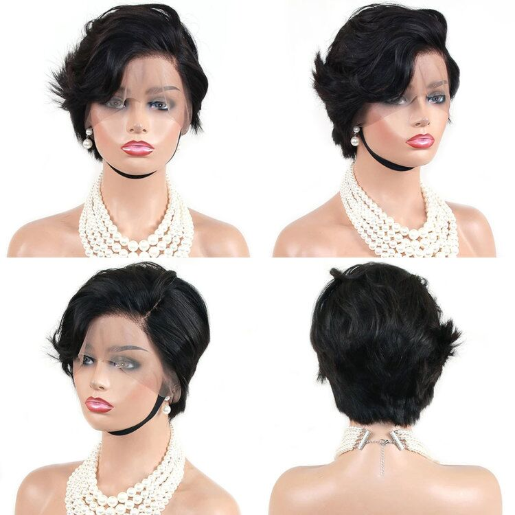 customized straight side part pixie 13x6 lace wig