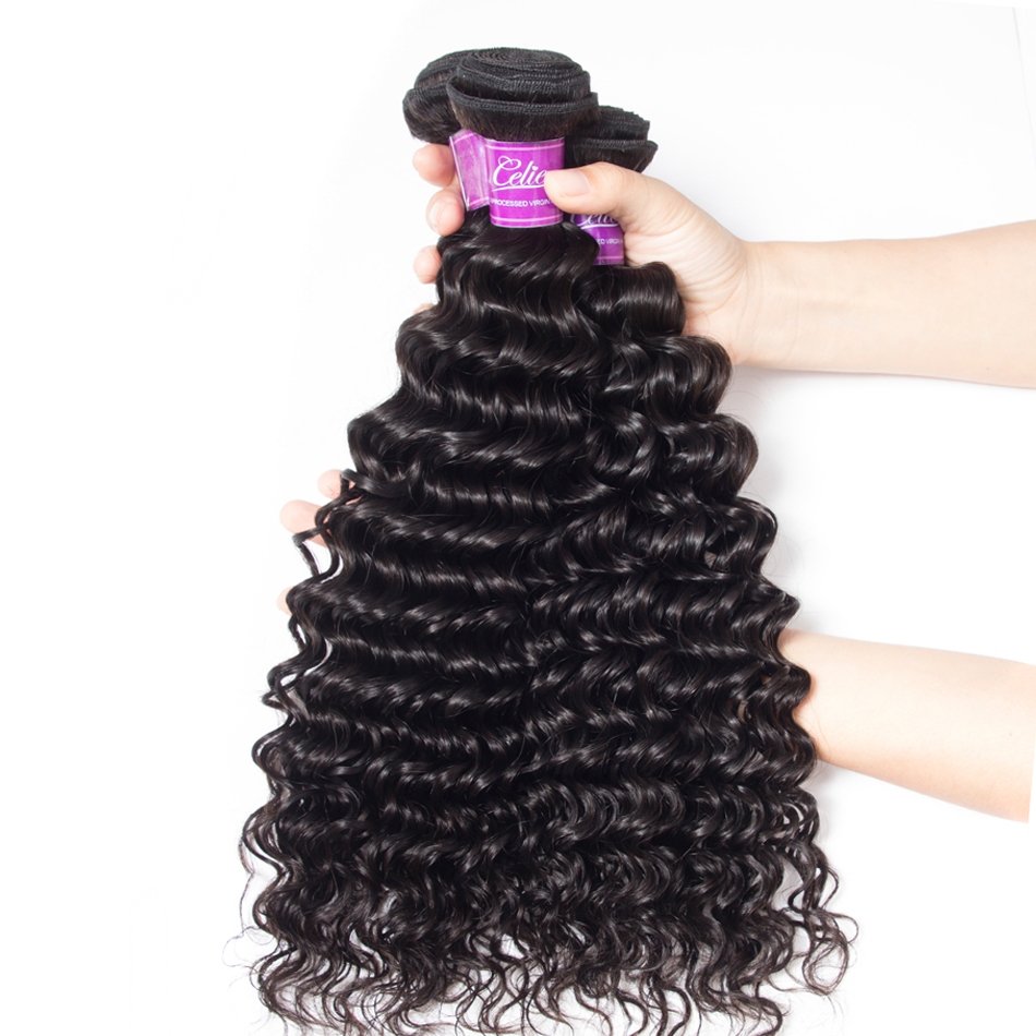 Deep wave Hair 3 Bundles With 6x6 Lace Closure