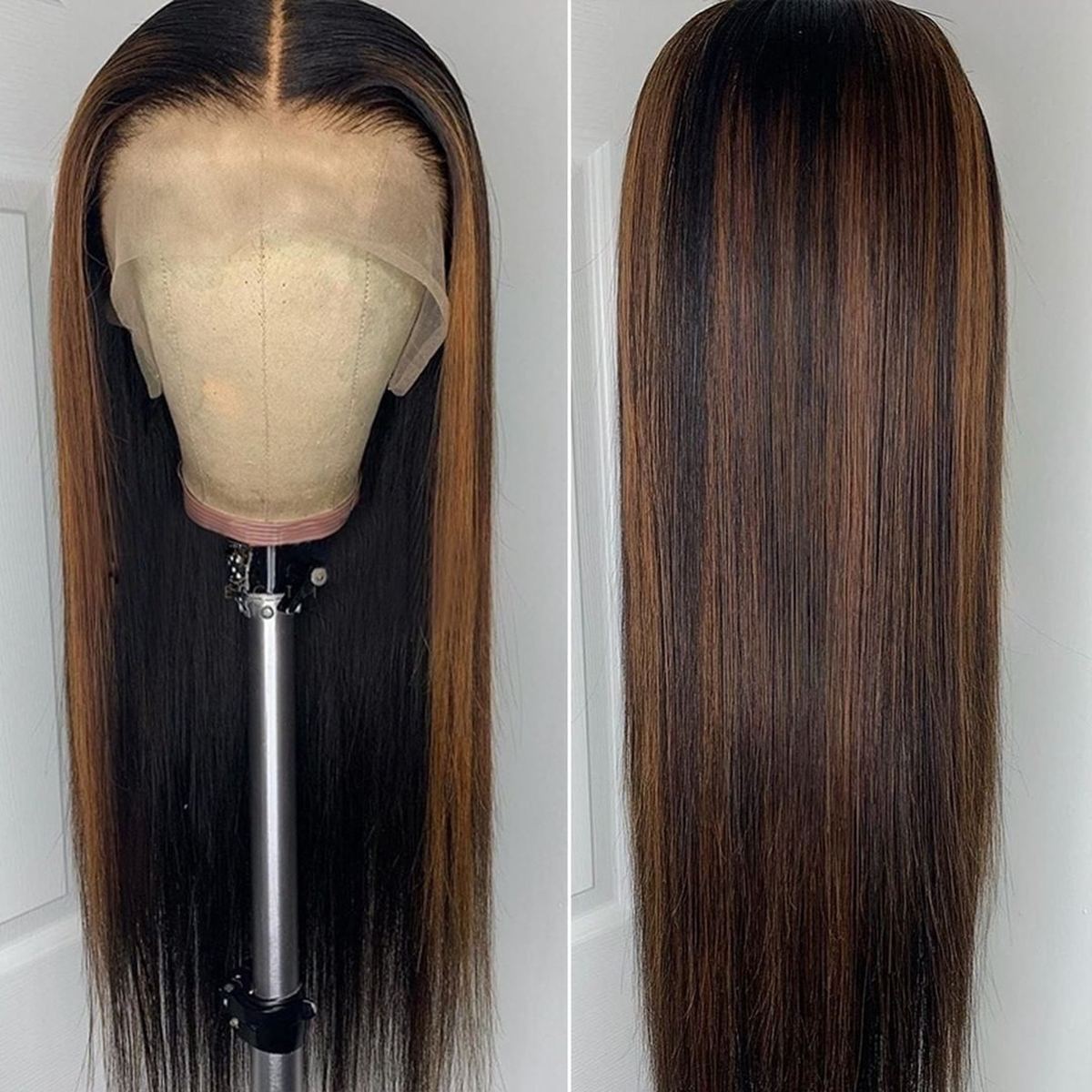 highlight straight lace frontal wig