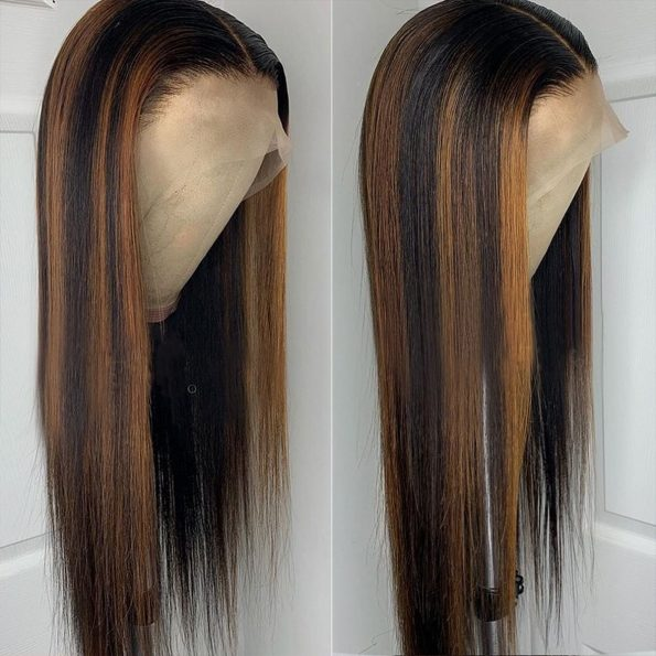 Highlight Straight Wig 13×4 Lace Front Wig Colored Human Hair Lace Wig