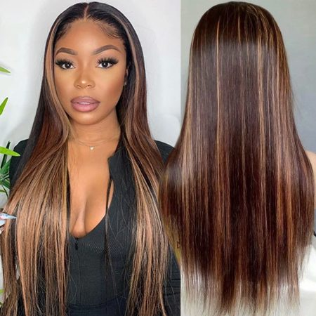 Highlight Straight Wig 13x4 Lace Front Wig Colored Human Hair Lace Wig