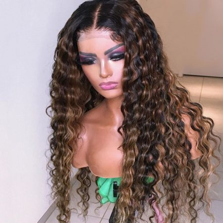 highlight water wave lace front wig