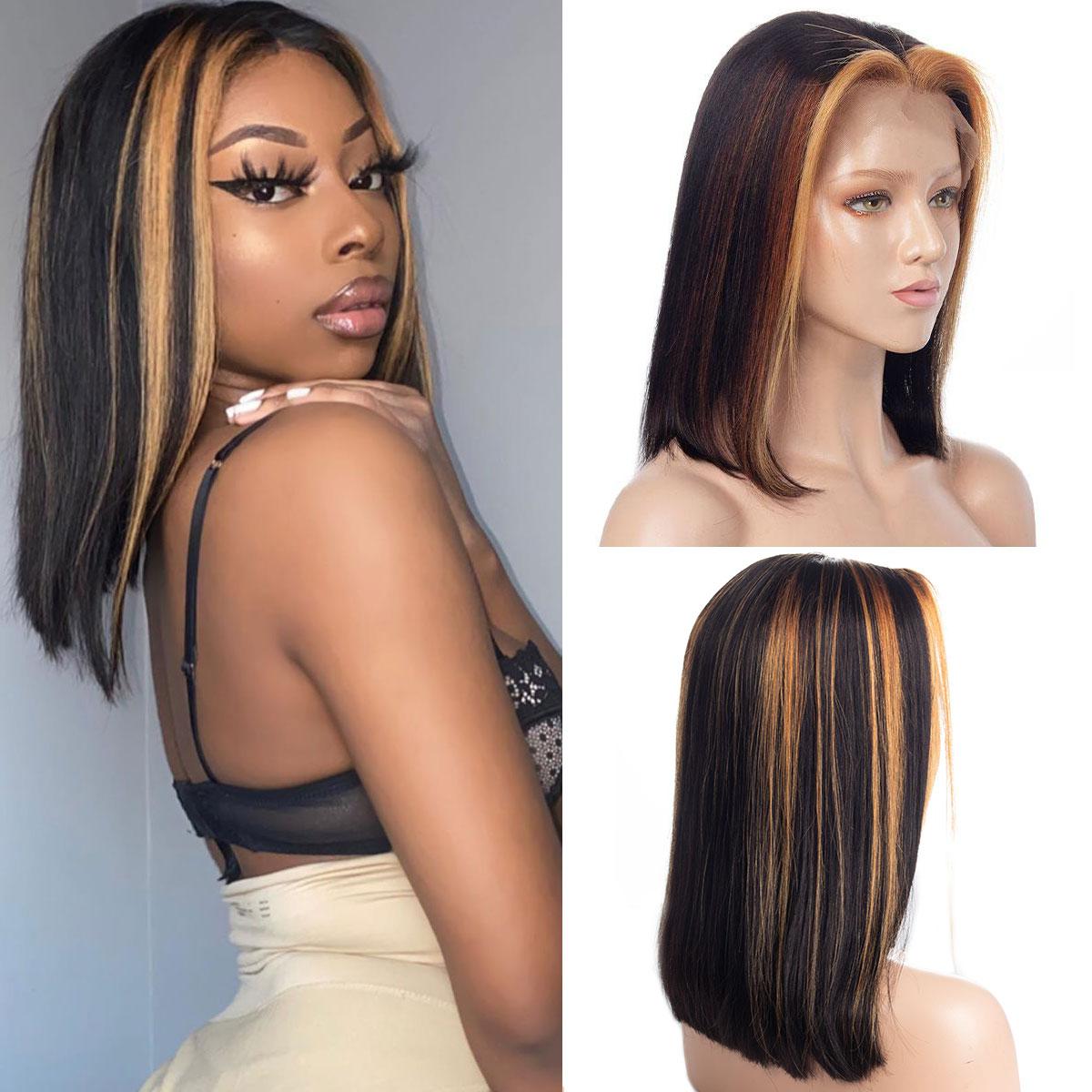 hightlight straight bob 13x4 lace front wig