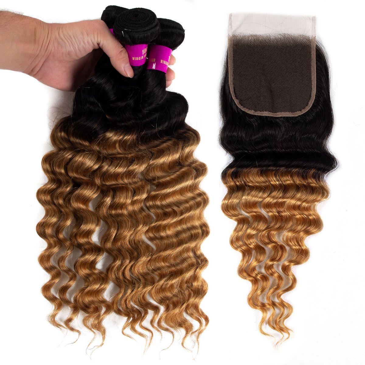 1B/27 Loose deep wave Hair 3 Bundles With Closure