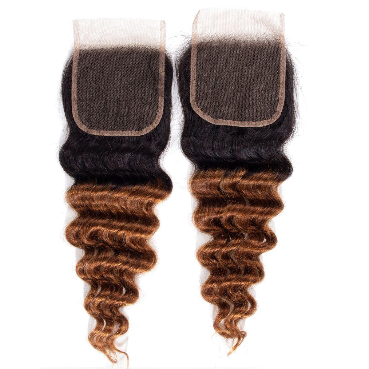 1B/30 deep wave Hair 3 Bundles With Closure