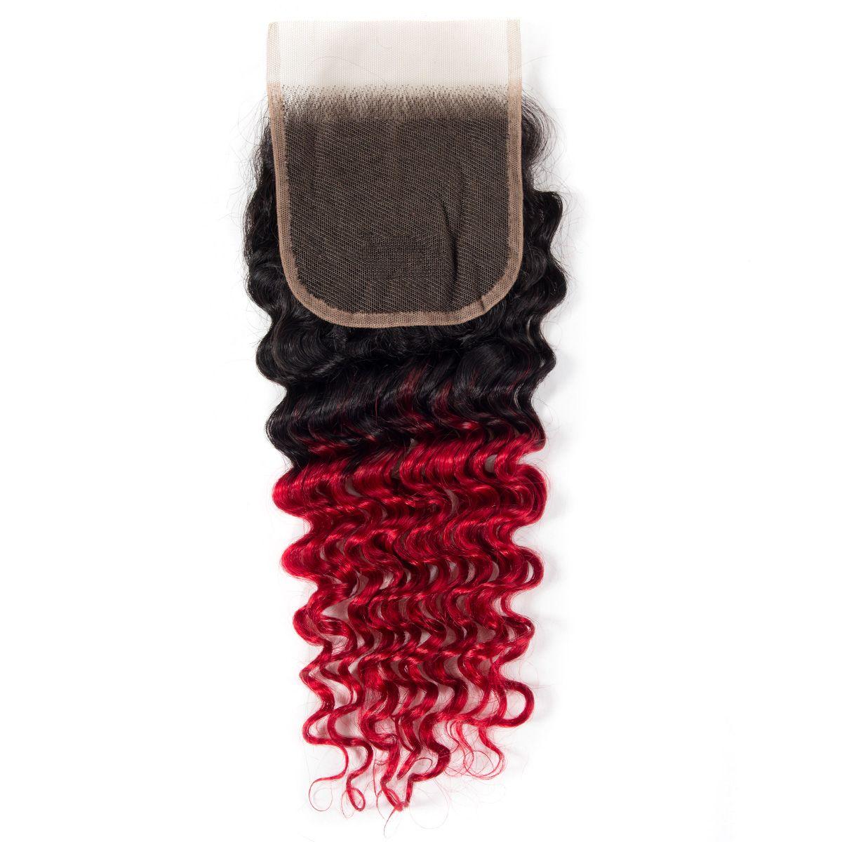 1B/red deep wave Hair 3 Bundles With Closure