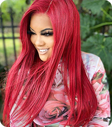 red color straight hair lace wig