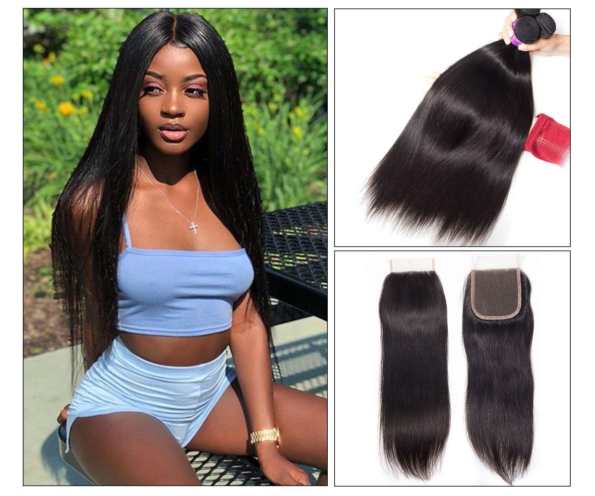 Straight Hair 4 Bundles With Closure
