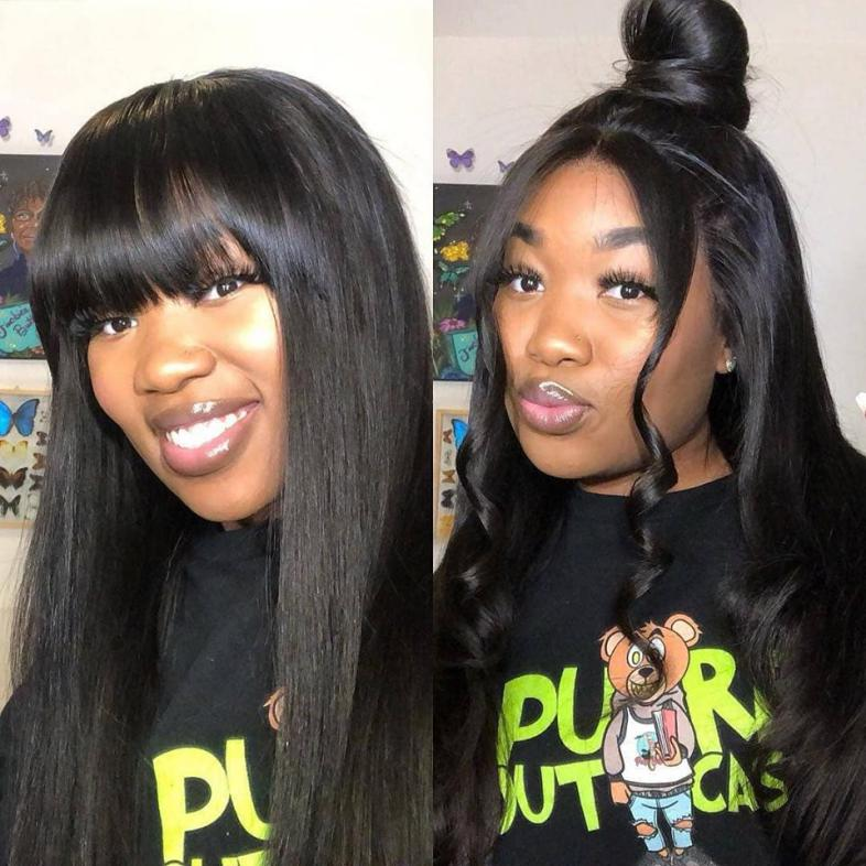 straight human hair lace wig