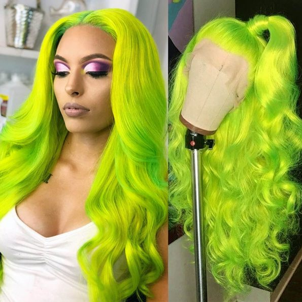Green body wave lace front wig (1)