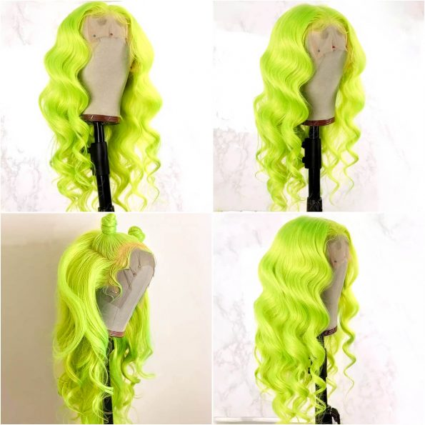 Green body wave lace front wig (2)