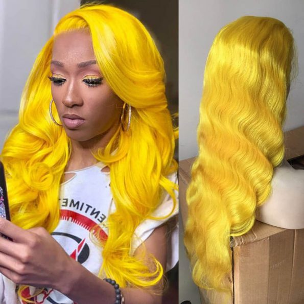 body wave yellow lace front wig