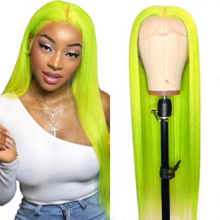 green straight lace front wig (1)