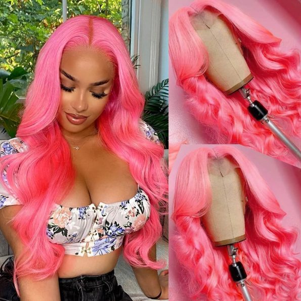 pink body wave lace front wig
